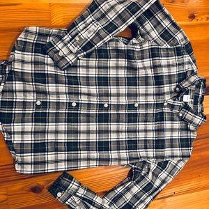 Gap button down shirt, grey plaid, size 10